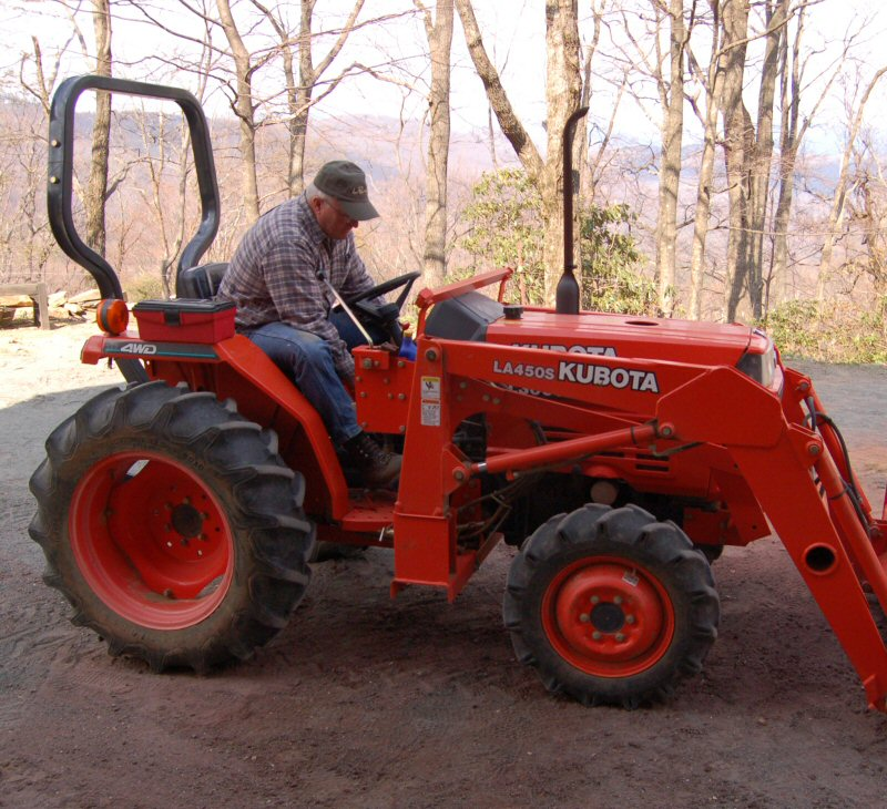 Dave Moore on a tractor