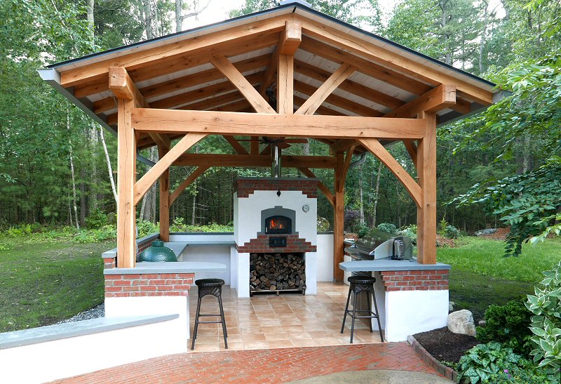 Outdoor kitchen with custom bake oven by Jon Santiago and Homestead Heat